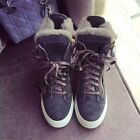 Fashion Womens Winter Fur Lined High Top Sport Lace Up Suede Warm Snow Shoes New
