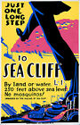 Sea Cliff USA, Old Vintage Travel Ad, Antique Poster, HD Art Print or Canvas