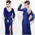 NWT PRIMERA COUTURE 9930  LONG SLEEVE EMBLISHED V-NECK ROYAL BLUE GOWN $499