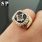 MEN ICED OUT HIP HOP RAPPERS MASONIC FREEMASON CZ GOLD STAINLESS STEEL RING