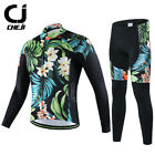 CHEJI Mens Retro Thermal Winter Cycling Jersey Pants Set Fleece Cycling Long Kit