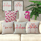 Pink flamingo bird cushion Cover Throw bed Pillow Case Sofa Home Deco About 15""
