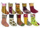 Stockings & Hangers Indian Handmade Recycled Cotton Kantha Christmas stockings