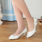 Women Princess Pearl Bows Knot Lace Shoes Wedding Party Bridal High Heels Pumps