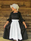 Modest Quality Historical Costume Colonial ~Black Day Dress~ Child Size 4 to 14