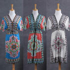 Women's Summer V-Neck Mini Floral Dress Beach Cover-up Boho Beach Dress Sundress