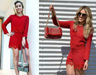 NWT ZARA DARK RED EMBELLISHED LONG SLEEVE JUMPSUIT PLAYSUIT LACE DETAIL 4437/064