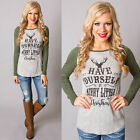 Merry Christmas Womens Long Sleeve Shirt Casual Blouse Loose Cotton Tops T Shirt