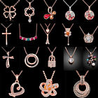 Women Jewelry Crystal Rhinestone Rose Gold Plated Necklace Chain Pendant Gift
