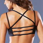 Strappy Padded Bralette Cage Ladder Back Sports Bra V Neck Seamless Crop Top