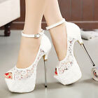 White Lace Open Toe Platform Party Women Shoes Bridal Wedding High Heels Sandals