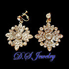 Luxury Clear Swarovski Crystal Rhinestones Snow Pieces Earrings Clip On