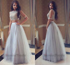 2017 Two Piece Beaded Proom Dresses Long Tulle Evening Party Pageant Formal Gown