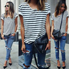 Summer Women Girl Striped Cotton Loose Striped T Shirt Casual Tops Blouse ATAU