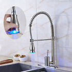 Premium Brushed Nickel Led Colors Kitchen Sink Faucet Pull Down Spray Mixer Tap