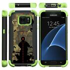 For Samsung Galaxy S7 Case Dual Layer Hybrid Kickstand Defender Green Cover