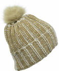 Aprileo Slouchy Beanie Faux Fur PomPom Hat Double Layer Knitted Cap