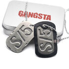 1PC GANGSTA Cosplay Military Card S/5 S/0 A/0 Dog Tag Pendant Necklaces Chain