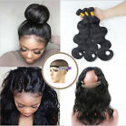 Brazilian Body Wave 3 Bundles/300G+360 Pre Plucked  Lace Frontal Band Closure