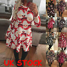 Uk Womens Christmas Santa Dress Ladies Party Snowman Mini Shift Dress Size 6-20