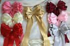 "Large 10"" Satin Ribbon bow with tails jeweled centre Crib bows"