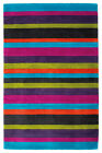 100% Wool Vibrant Striped Purple Green Quality Thick Rug Runner Comes In 4 Sizes
