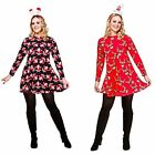 CHRISTMAS XMAS DRESS LONG SLEEVED SWING WOMENS LADIES ADULT FESTIVE HOLIDAY NEW