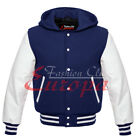 Varsity Top quality Letterman Wool Jacket with Real Leather Sleeves HoodieXS-4XL