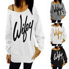 Wifey Print Womens Long Sleeve Thin Hoodie Sweatshirt Pullover T-shirt Top AU