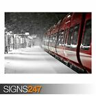 RED TRAIN WINTER (AB020) TRAIN POSTER - Photo Picture Poster Print Art A0 to A4