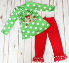 Toddler & Girls Christmas Holiday Red Green REINDEER Ruffle Pant Shirt Outfit