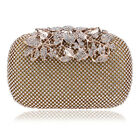 Diamonds Women Evening Flower Metal Clutches Purse Bags with Chain Shoulder Tote
