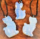 Cat Necklace - Opalite Carved Gemstone Pendant - Handmade Crystal Jewelry (EE59)