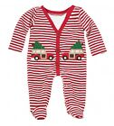 Mud Pie Holiday Christmas Car Velour Footed One Piece