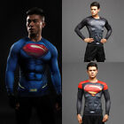 Superman Men T-Shirt Superhero Long Sleeve Gym Sports Bicycle Jersey Compression