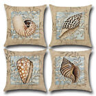 Marine Life Conch Printed Cotton Pillowcases Cushion Cover Home Sofa Car Decor