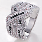 925 Silver Black&clear Sapphire Infinity Ring Jewelry Wedding Engagement Punk