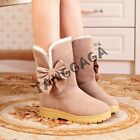 Fashion Womens Winter Casual Pull On Bowknots Faux Fur Lined Snow Ankle Boots UK