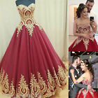 Gold Appliqued Quinceanera Dresses Formal Prom Party Pageant Ball Wedding Gowns