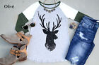 Deer Print Tee Shirt Christmas women 3/4 sleeves Top T-Shirt Rustic Made In USA