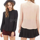 Fashion Women Ladies Chiffon T Shirt Pink  Long Sleeve Blouse Casual Tops Tee