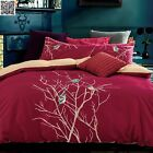 New 100%Cotton Red Bird Embroidery Quilt/Doona/Duvet Cover Set Queen/King Bed