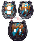 Rustic Western Horseshoe Barbed Wire Turquoise Switch Plate Covers Cowhide Look