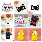 3D Cartoon Big Face Cat Kitty Soft Case Cover For iPhone & Samsung Galaxy Gift