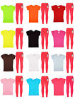 Kids Girls Short Sleeve Top &  Neon Pink Legging Set 2 Pc Outfit & Set 2-13Years