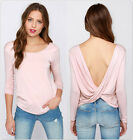 Fashion Women Backless Long Sleeve Bottoming T-Shirt Solid Loose Shirt Blouse