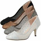 New Womens Ladies Sparkly Round Toe Mid Stiletto Heel Diamante Party Court Shoes