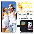 Personalised PHOTO Apple iPhone & Samsung Wallet Flip case PICTURE cover image !
