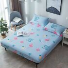 100% Cotton Flower Single Queen King Size Bed Fitted Sheet Set Floral Pillowcase