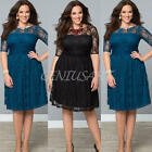 WOMENS LADY LACE OVERSIZE SHORT SLEEVES 3XL PARTY EVENING GOWN DRESS PLUS SIZE